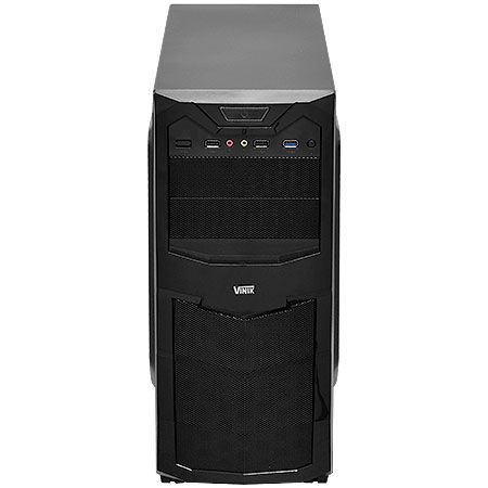 Gabinete Mid Tower Quake VX Gamer Preto Fan Led Azul 19810 - Vinik