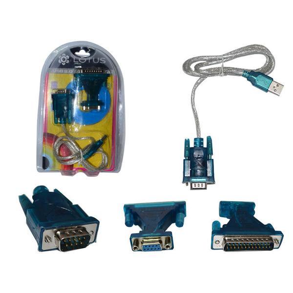 Adaptador USB 2.0 Serial e Adaptador DB9 para DB25 80cm USB-RS232 AD0204 - Lotus