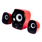 Subwoofer 2.1 RD Com Rádio FM Micro SD USB SP-10 Vermelho - C3tech