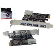 Placa PCI-E com 4 Saídas USB 3.0 5Gbps DP-43 PC0033DEX - Dex