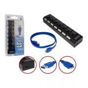 Hub USB 7 Portas 3.0 Suporta HD 1TB C/Liga e Desliga HUB0047 - OEM (c/st)