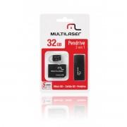 Cartao de Memoria 32GB Micro SD + Adaptador SD / USB MC060 - Multilaser
