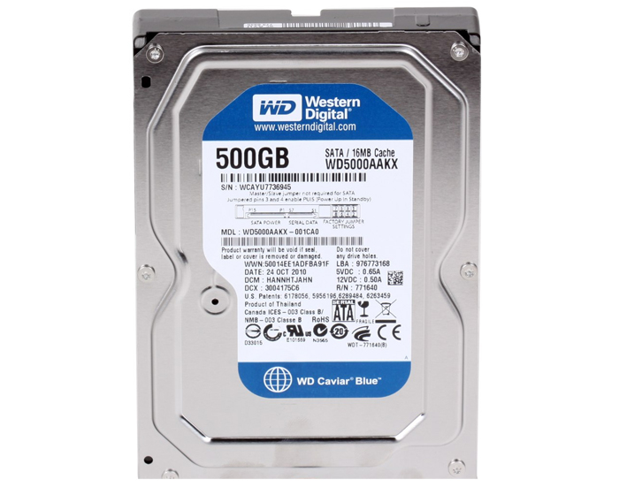 Hard Disk 500GB 7200RPM 16Mb Sata 3 WD5000AAKX - Western Digital