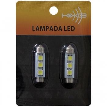 Lampada Automotiva Torpedo 3 LEDS para Teto, Placa, Porta Malas 43-LED06 - KX3