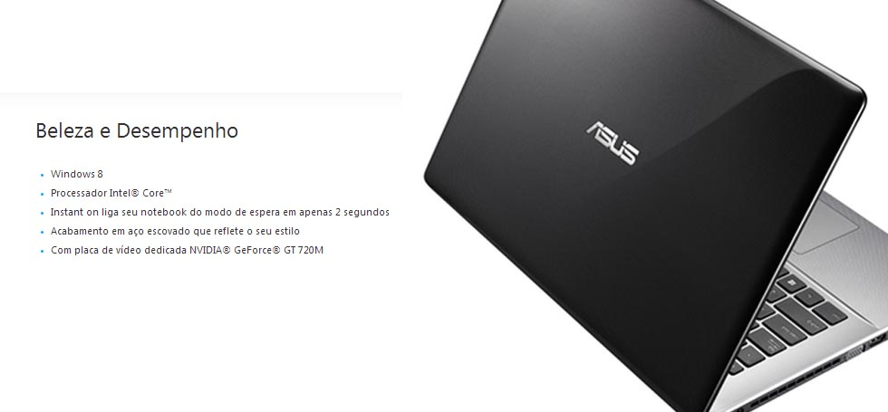 Notebook X450LC-BRA-WX109H - Core i7, 8GB, HD 750GB, Video GeForce GT 720M dedicada Tela 14 Tela 14 Windows 8 - Asus