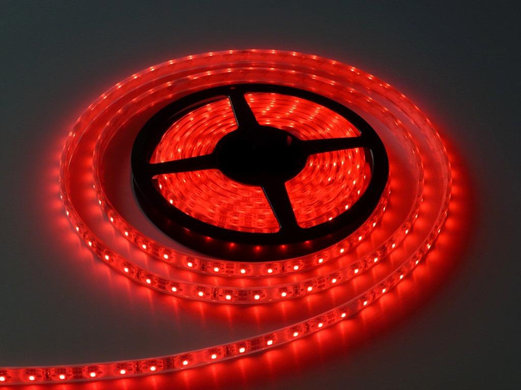 Fita Led Vermelho 5M - Tamanho dos Leds 3528 - 60 Leds Por Metro Com Silicone e Fita Dupla Face + Adaptador - Alltech