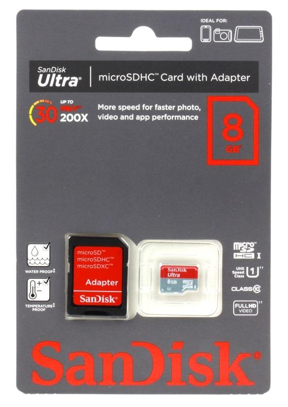 Cartao de Memoria 8GB Micro SDHC Classe 10 ULTRA SDSDQU-008G-U46A - Sandisk