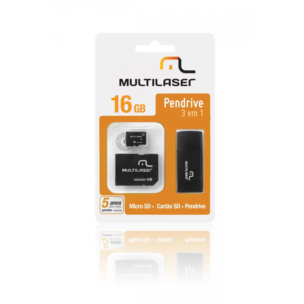 Cartao de Memoria 16GB Micro SD + Adaptador SD / USB MC059 - Multilaser