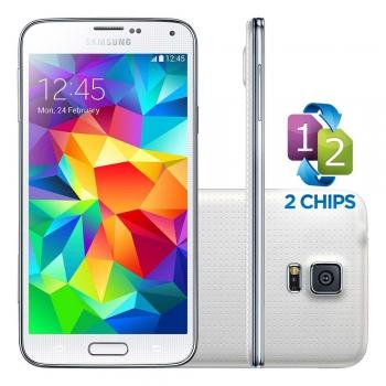 Smartphone Galaxy S5 com Android 4.4, Dual Chip, Processador Quad Core 2.5 Ghz e Camera de 16 MP com Flash Branco LED G9