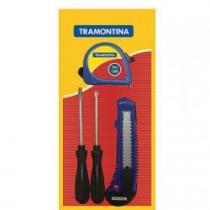Kit de Ferramentas com 4 Pecas 43408/118 Trena - Estile - Chaves de Fenda Ponta Chata e Cruzada - Tramontina