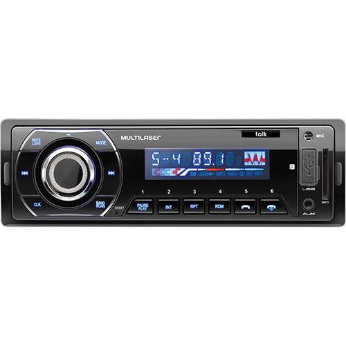 Radio Automotivo Talk Bluetooth, Rádio FM, Entradas USB, SD e AUX P3214 - Multilaser