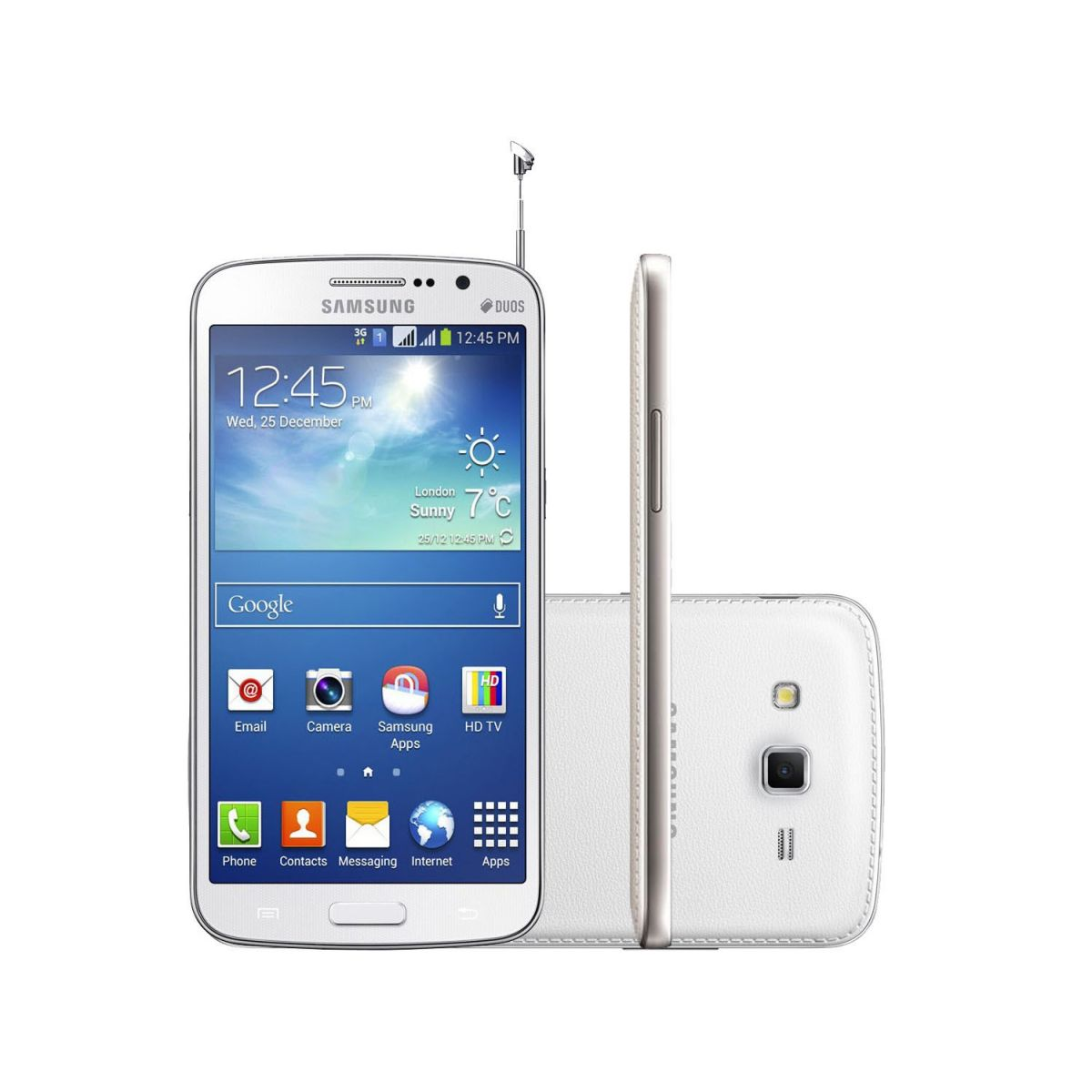 Smartphone Galaxy Gran Duos 2 TV G7102 - Android 4.3, 3G, Tela de 5,3, Cam 8MP, Quad Core 1.2 GHz, Dual Chip Branco