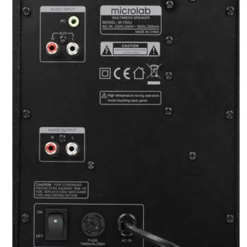 Caixa de Som Multimídia M700U 2.1 46W RMS com entrada USB/SD/Radio (Bivolt) - Microlab