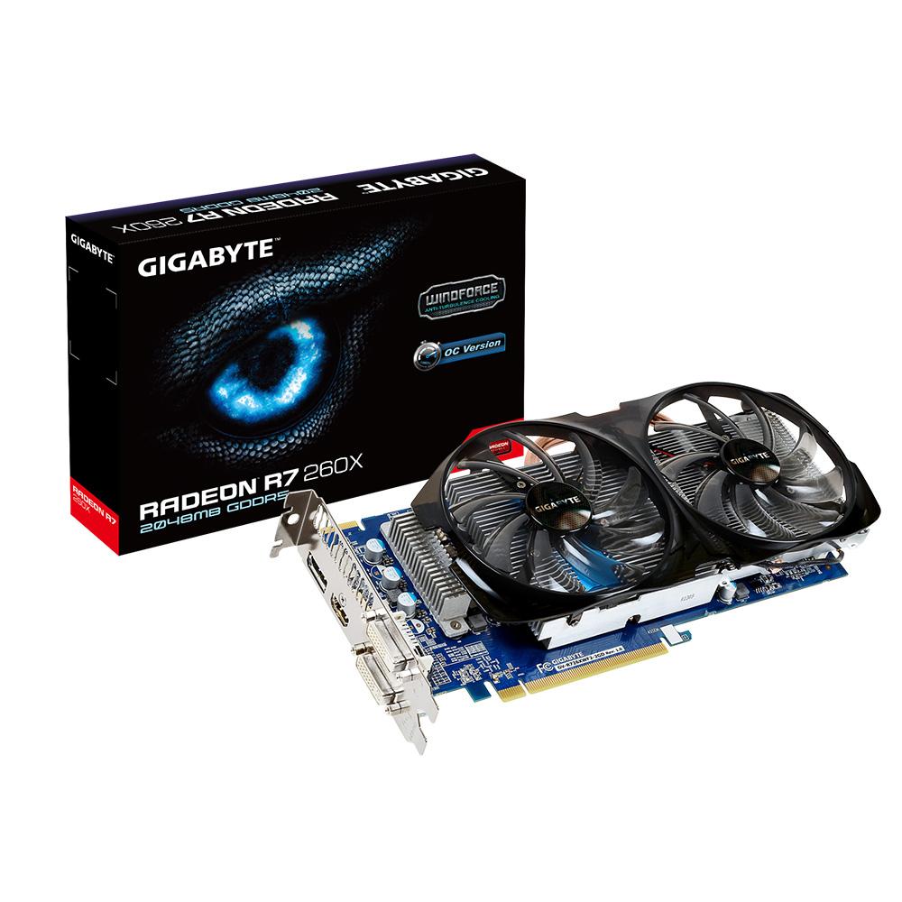 Placa de Vídeo ATI R7 260X 2GB DDR5 WINDFORCE 128Bits GV-R726XWF2-2GD - Gigabyte