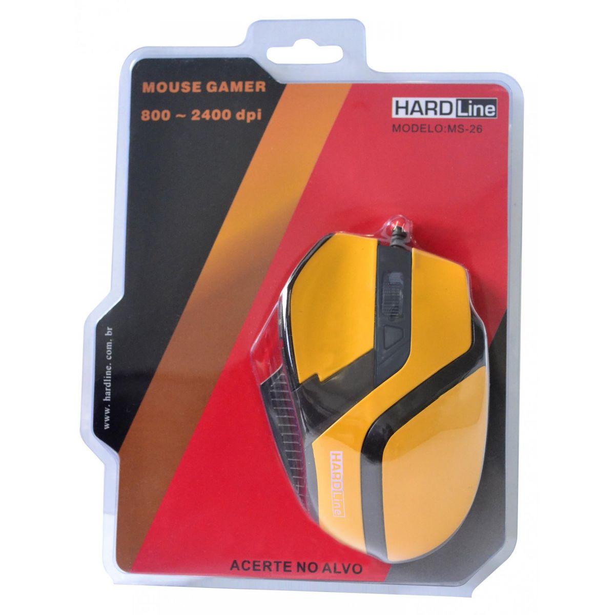 Mouse Gaming MS26 USB Amarelo/Preto 2400DPI - Hardline