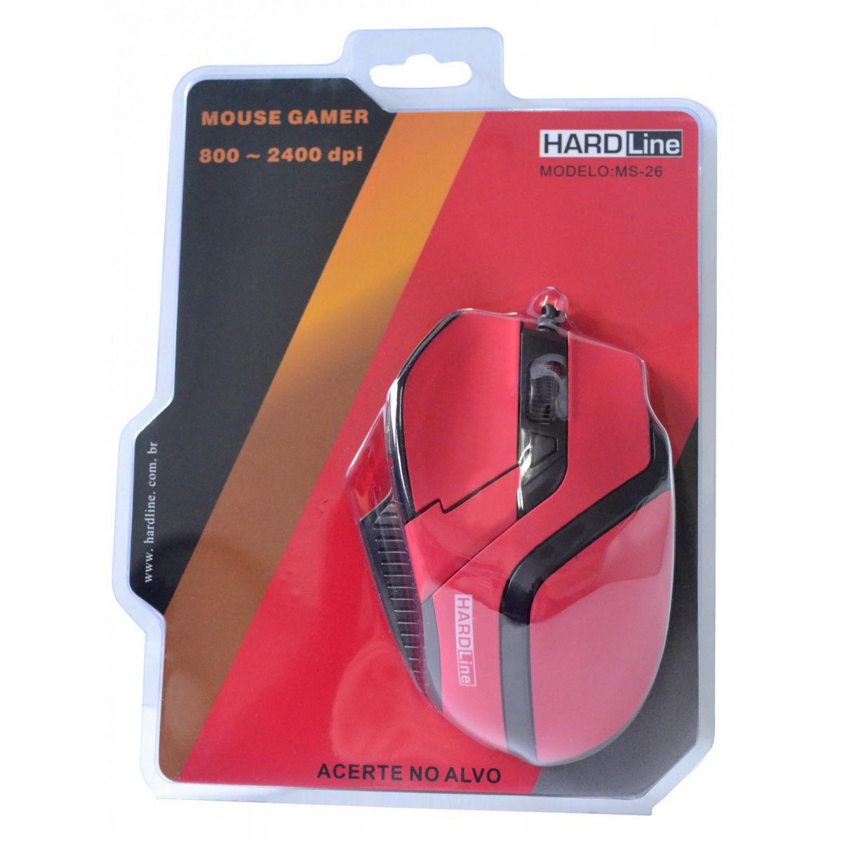 Mouse Gaming MS26 USB Vermelho/Preto 2400DPI - Hardline