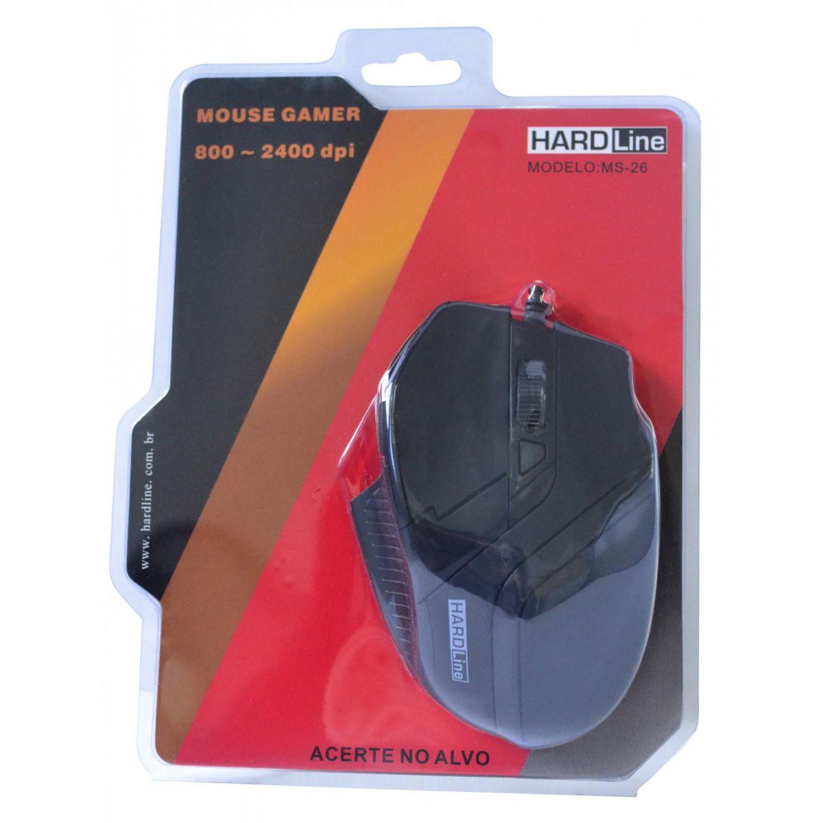 Mouse Gaming MS26 USB Preto 2400DPI - Hardline