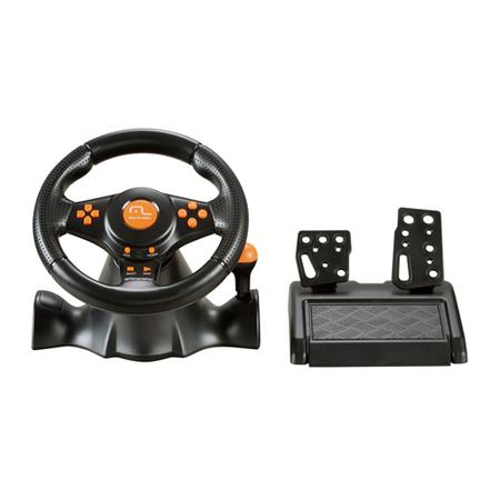 Volante Racer 3 em 1 Wireless para PS2, PS3 e PC JS074 Laranja - Multilaser