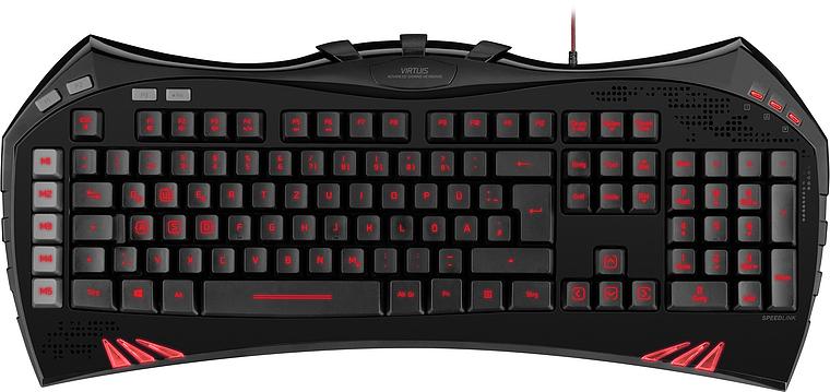Teclado Gaming VIRTUIS (Iluminado/Vermelho) SL-6481-BK-US Preto - Speedlink