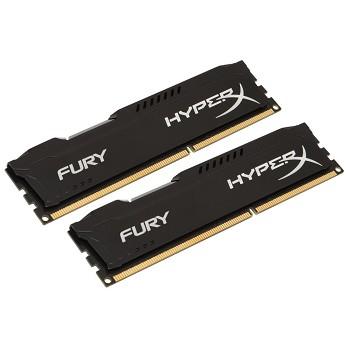 Memória 8GB 1600MHz DDR3 CL10 DIMM (Kit of 2) HyperX FURY Black Series HX316C10FBK2/8 - Kingston