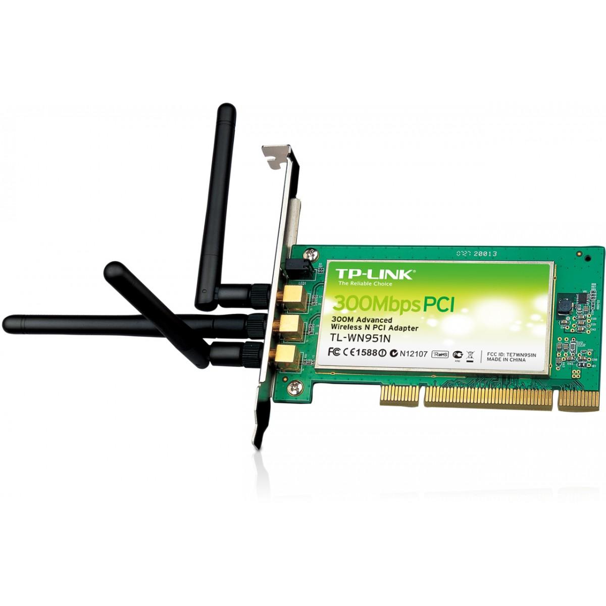 Placa de Rede PCI Wireless TL-WN951N (300Mbps) c/ 03 Antenas - Tplink