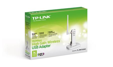 Adaptador USB Wireless de Alto Ganho de 150Mbps TL-WN722NC C/Base - Tplink