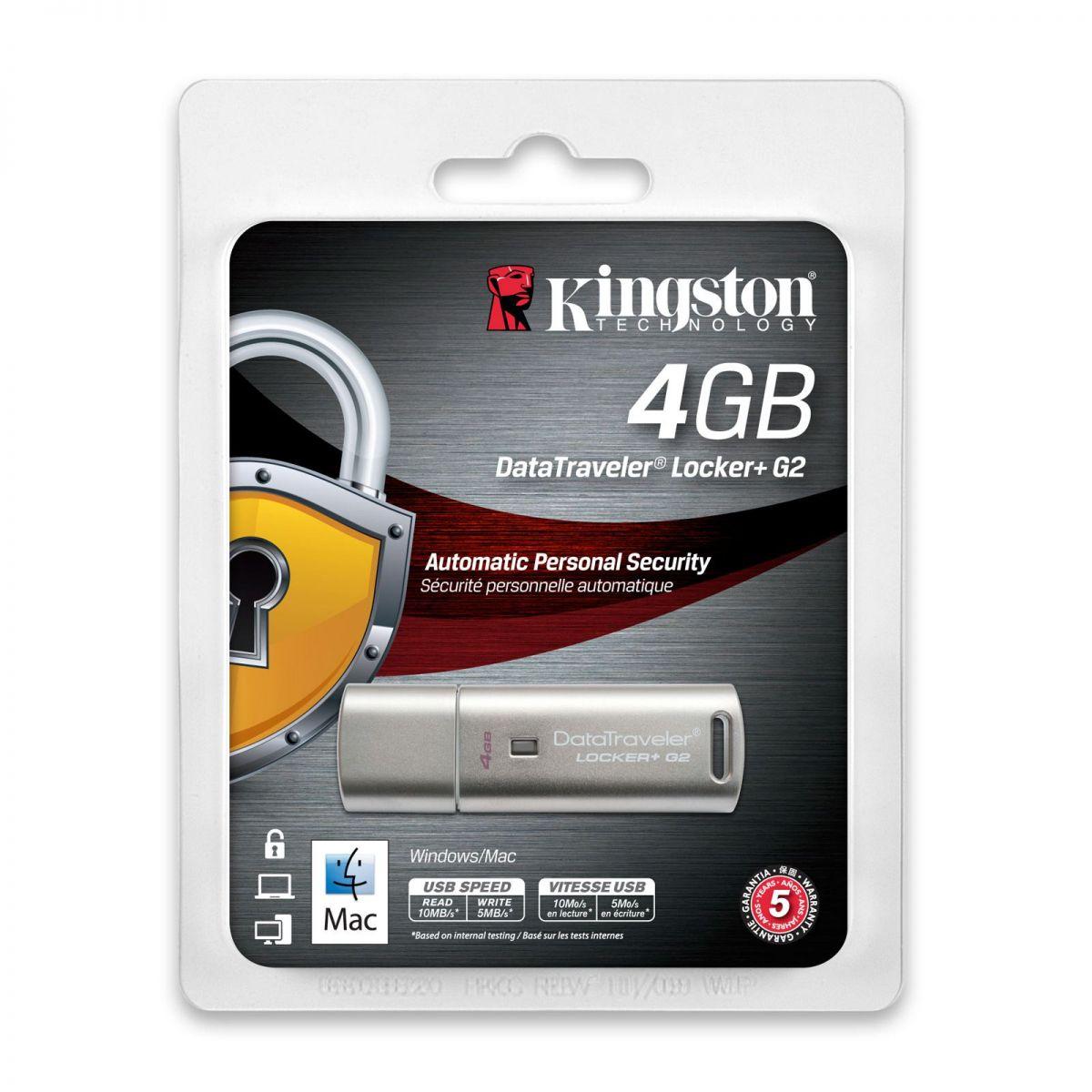 Pen Drive Kingston USB 4GB DataTraveler Locker+ G2 DTLPG2/4GB - Kingston
