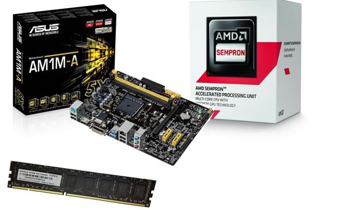 Kit AMD Sempron 3850 Quad Core 1.3Ghz 2MB BOX + Memória DDR3 4GB 1600Mhz Logic + Placa Mãe Asus AM1M-A (S/V/R) - Glacon