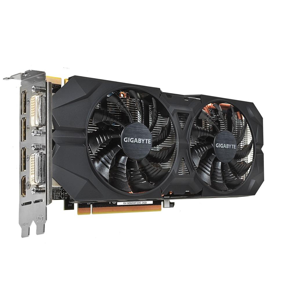 Placa de Vídeo Geforce GTX960 2GB Windforce 2X DDR5 128Bit GV-N960WF2OC-2GD - Gigabyte