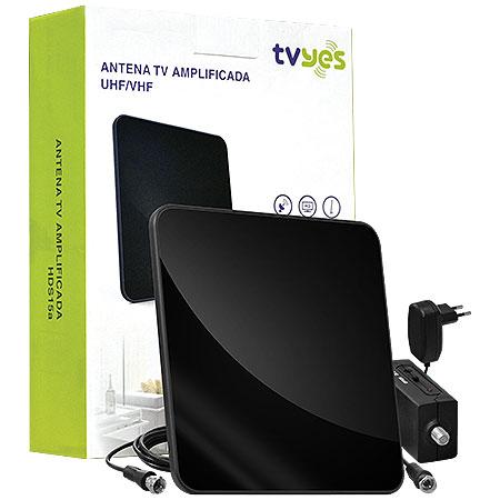 Antena para TV AMPLIFICADA HDS15A Preta - TVyes