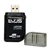 Leitor de Cartão Externo USB SD/MIcro SD/MS/T-Flash LC-01 Preto - Evus