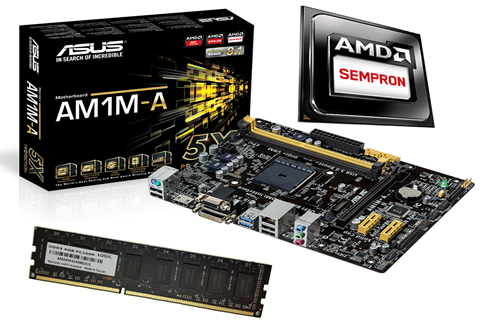 Kit AMD AM1 Sempron Dual Core 2650 Box + Placa Mãe Asus AM1M-A + Memória de 4GB DDR3 1600Mhz Logic