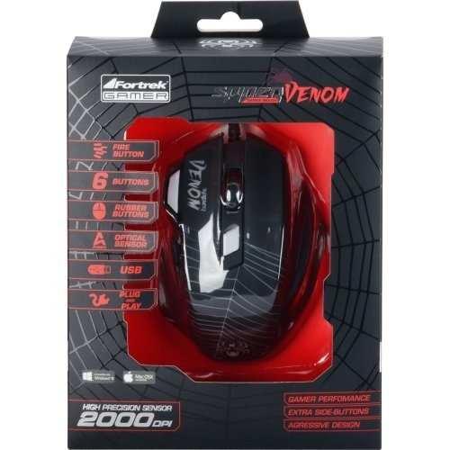 Mouse USB Spider Venom OM704 Preto - FORTREK