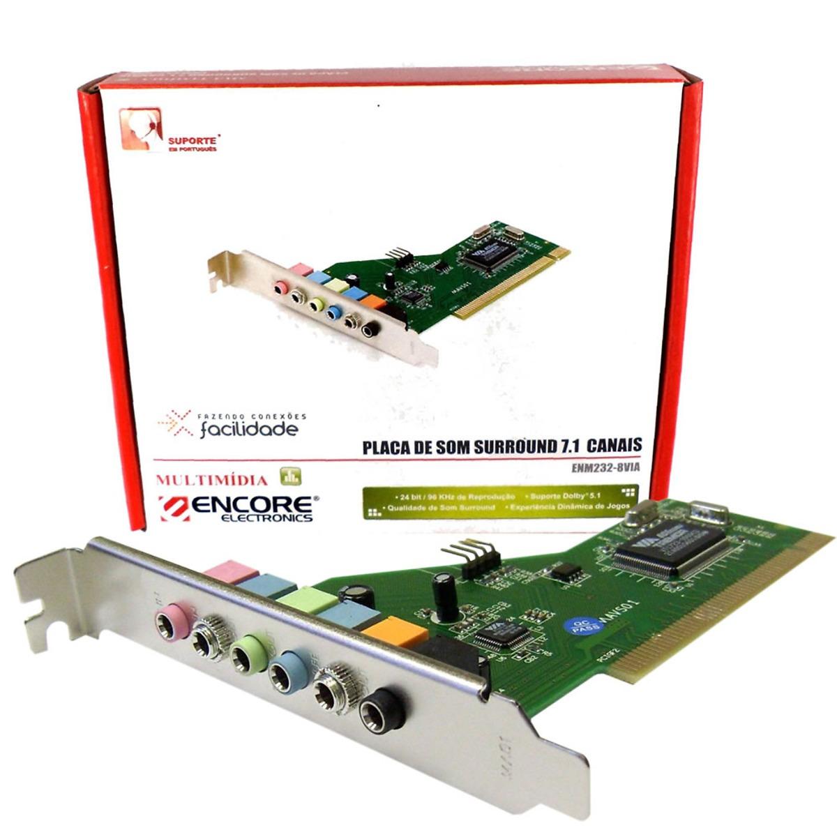 Placa de Som PCI 7.1CH ENM232-8VIA - Encore
