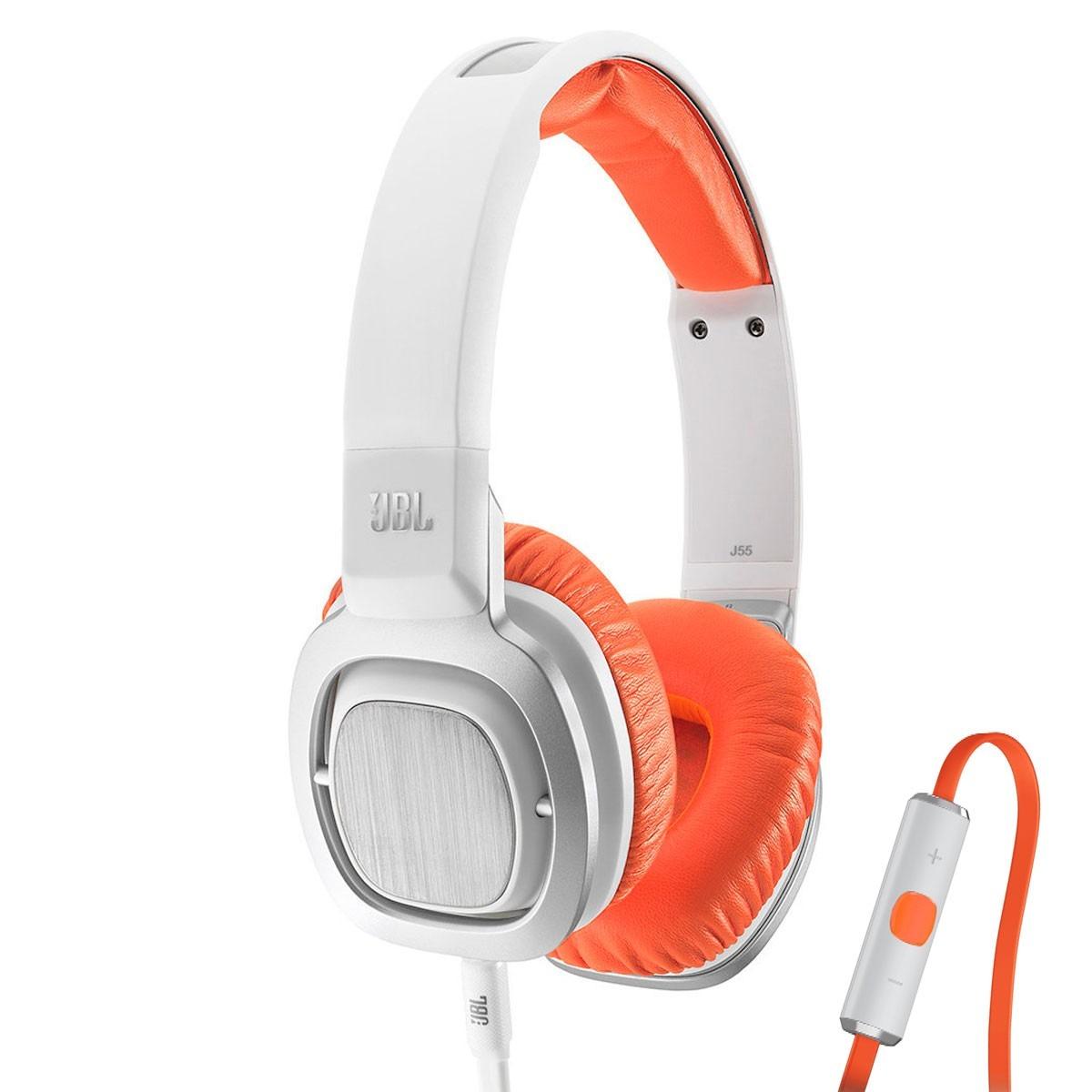 Fone de Ouvido com Microfone J55i Branco/Laranja - JBL