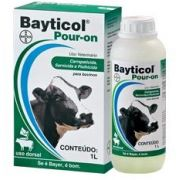 BAYTICOL POUR ON 1% 1 LITRO FLUMETRINA ANTIPARASITÁRIO E CARRAPATICIDA PARA COMBATE, TRATAMENTO E CONTROLE DE TODAS AS FASES DO CARRPATO E ECTOPARASITAS, MALÓFAGO, PIOLHOS E SARNAS DE BOVINOS BAYER