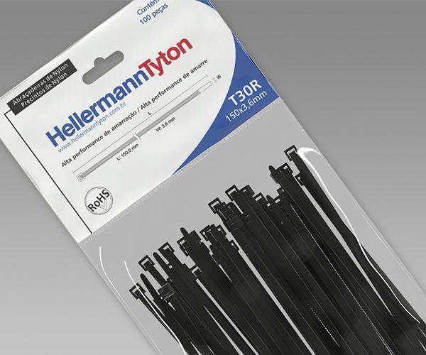 Abraçadeira Hellermann Tyton 150x3,6mm C/ 100 Unidades PRETO - T30R