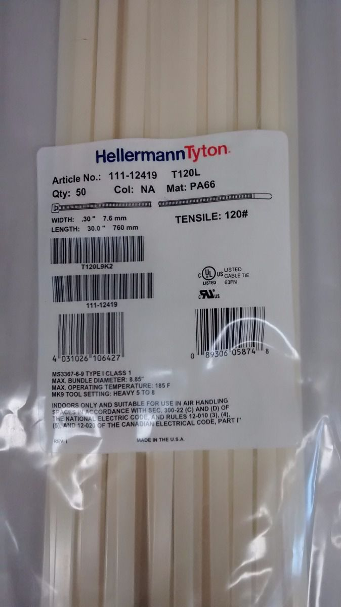 Abraçadeira Hellermann Tyton 390x7,6mm C/ 100 Unidades NATURAL - T120R