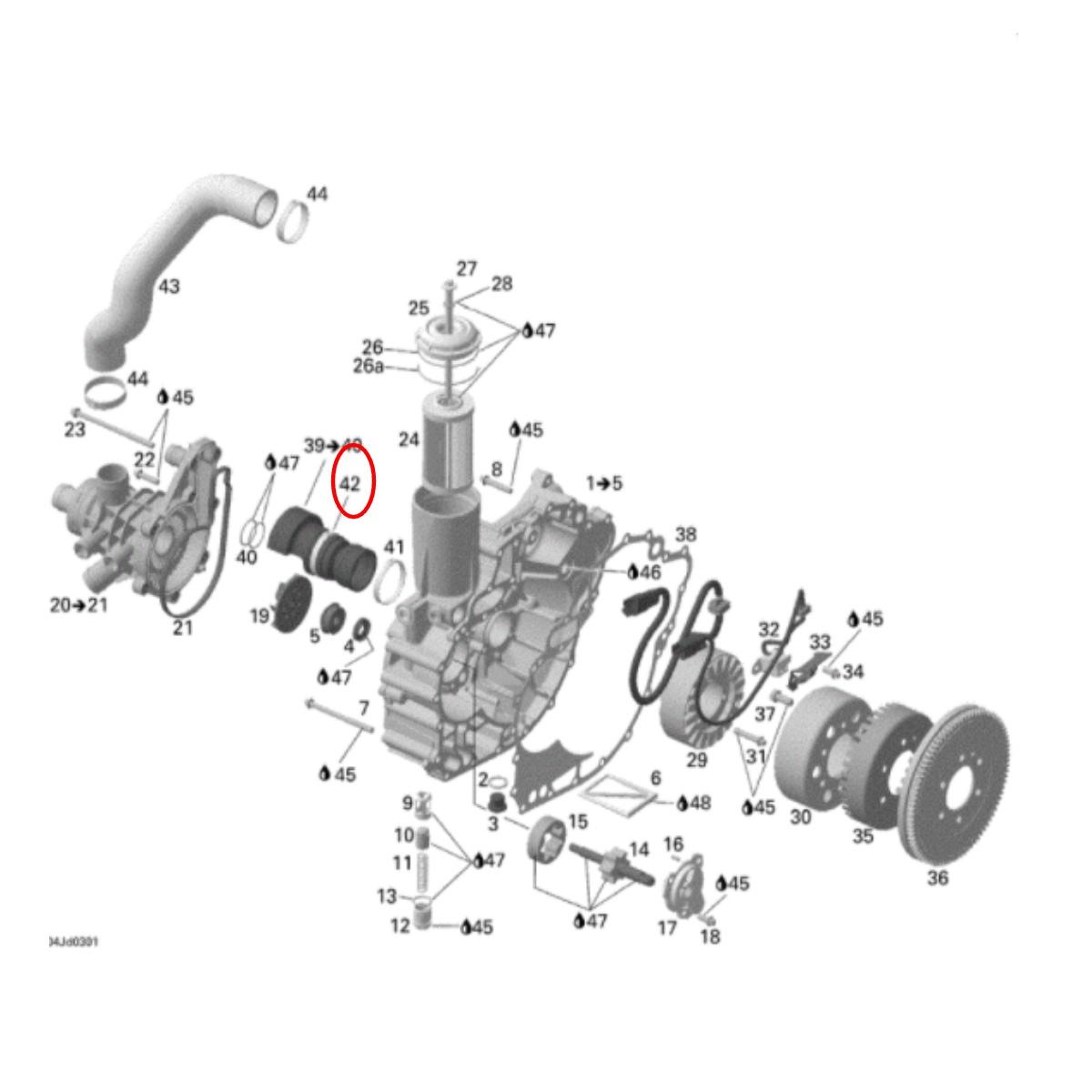 Abraçadeira inox Suporte Eixo Transmissão para Jet Ski Sea Doo 4 TEC  - Radical Peças - Peças para Jet Ski