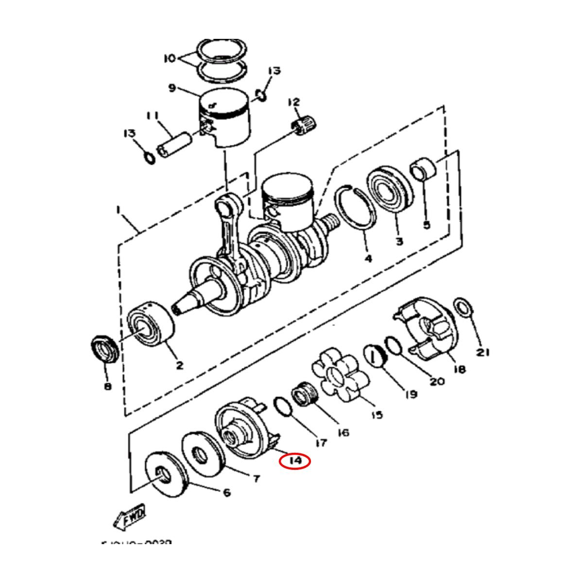 Acoplador para Jet Ski Yamaha GP 1200 Motor 24mm 5D  - Radical Peças - Peças para Jet Ski