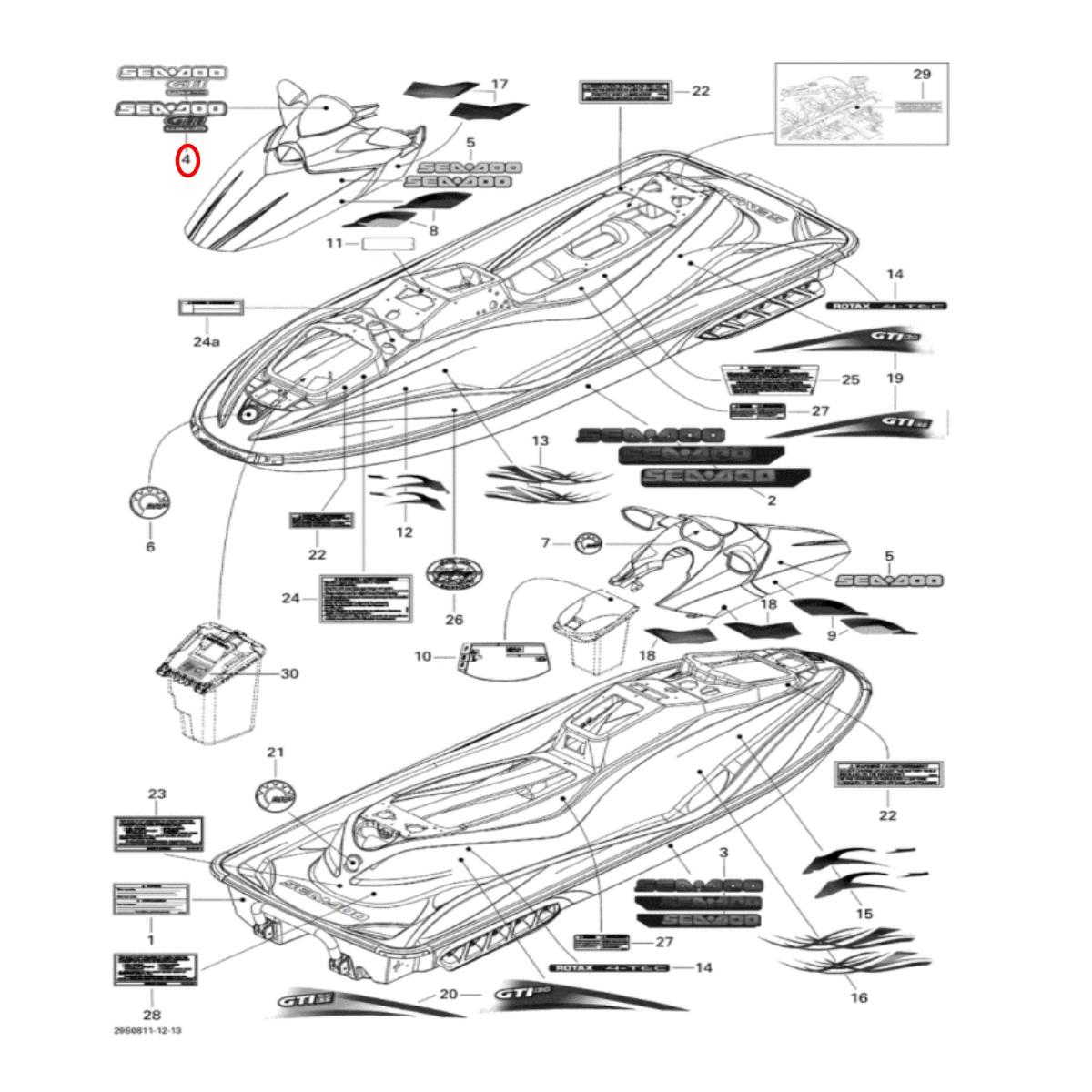 Adesivo do Defletor para Jet Ski Sea Doo GTI 4 TEC 09 Vermelho/Branco nacional  - Radical Peças - Peças para Jet Ski