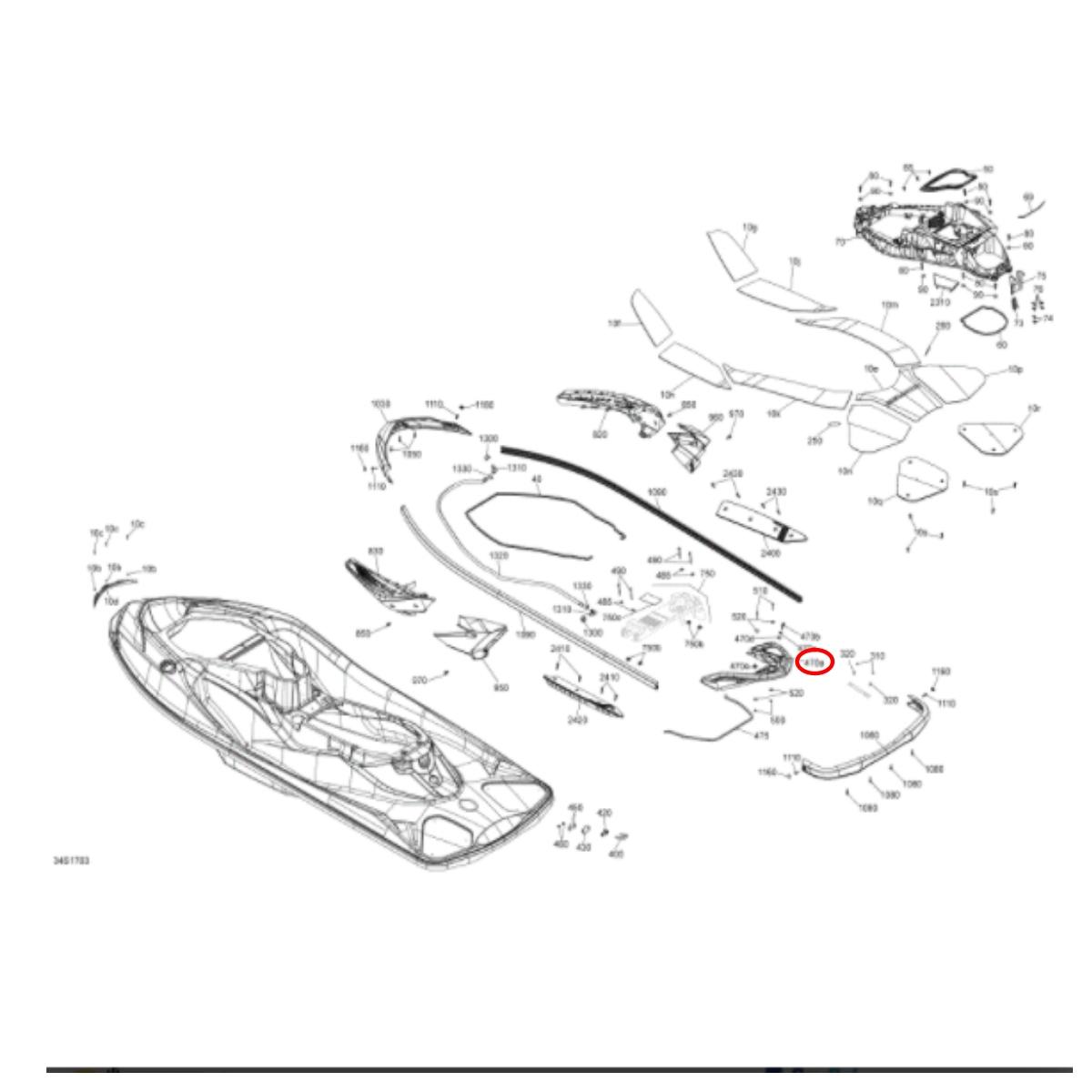 Alça Traseira para jet ski Sea Doo RXT 2017  - Radical Peças - Peças para Jet Ski