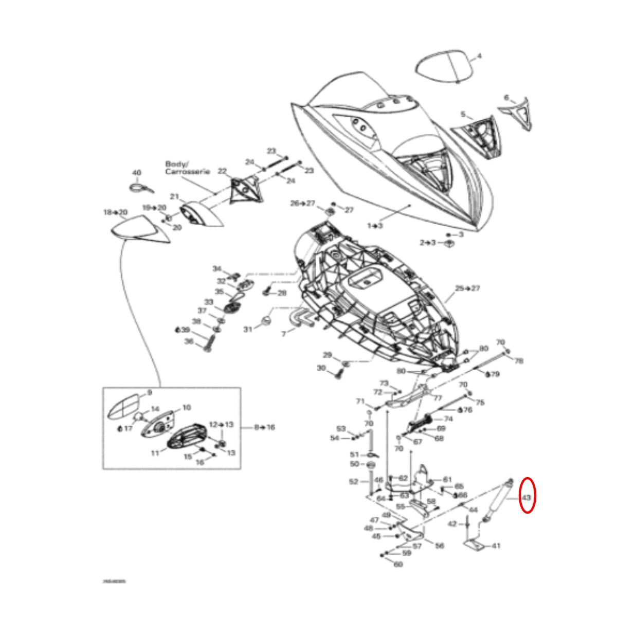 Amortecedor da Tampa Frontal jet ski Sea Doo GTX/RXT 4 Tec*  - Radical Peças - Peças para Jet Ski