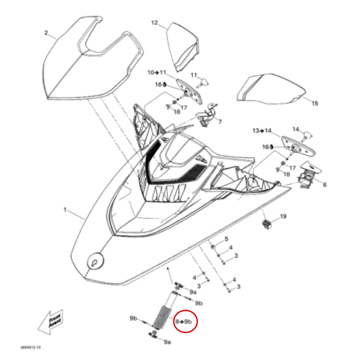 Amortecedor da tampa SEADOOGTX IS,RXT-X  - Radical Peças - Peças para Jet Ski