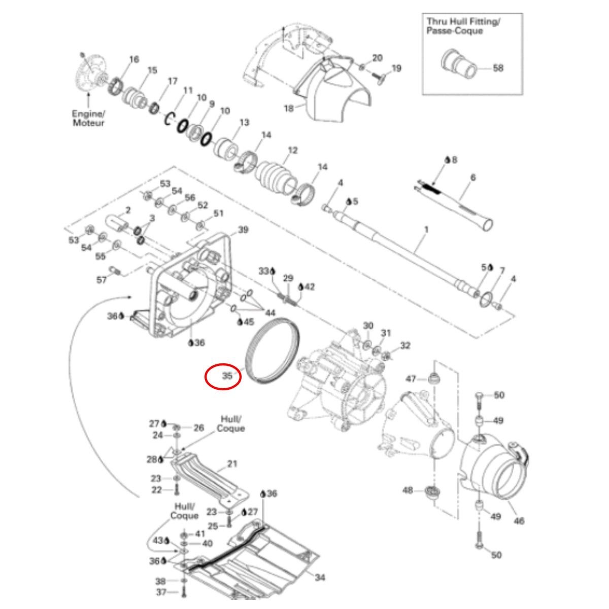 Anel Vedação Turbina Jet Ski Sea Doo GTI RFI  - Radical Peças - Peças para Jet Ski