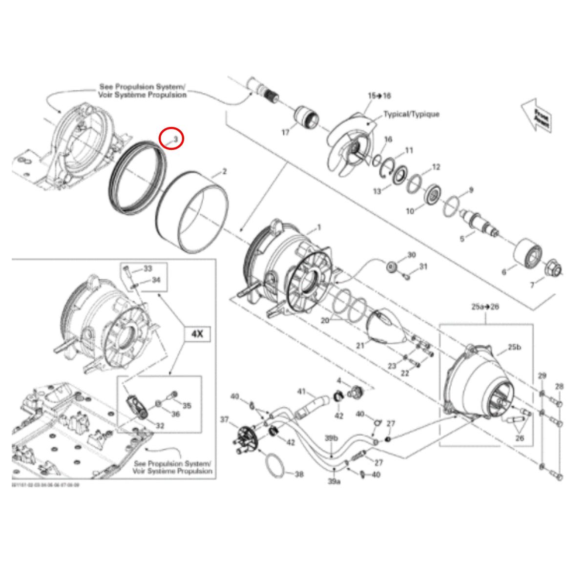 Anel Vedação Turbina Jet Ski Sea Doo RXT IS  - Radical Peças - Peças para Jet Ski