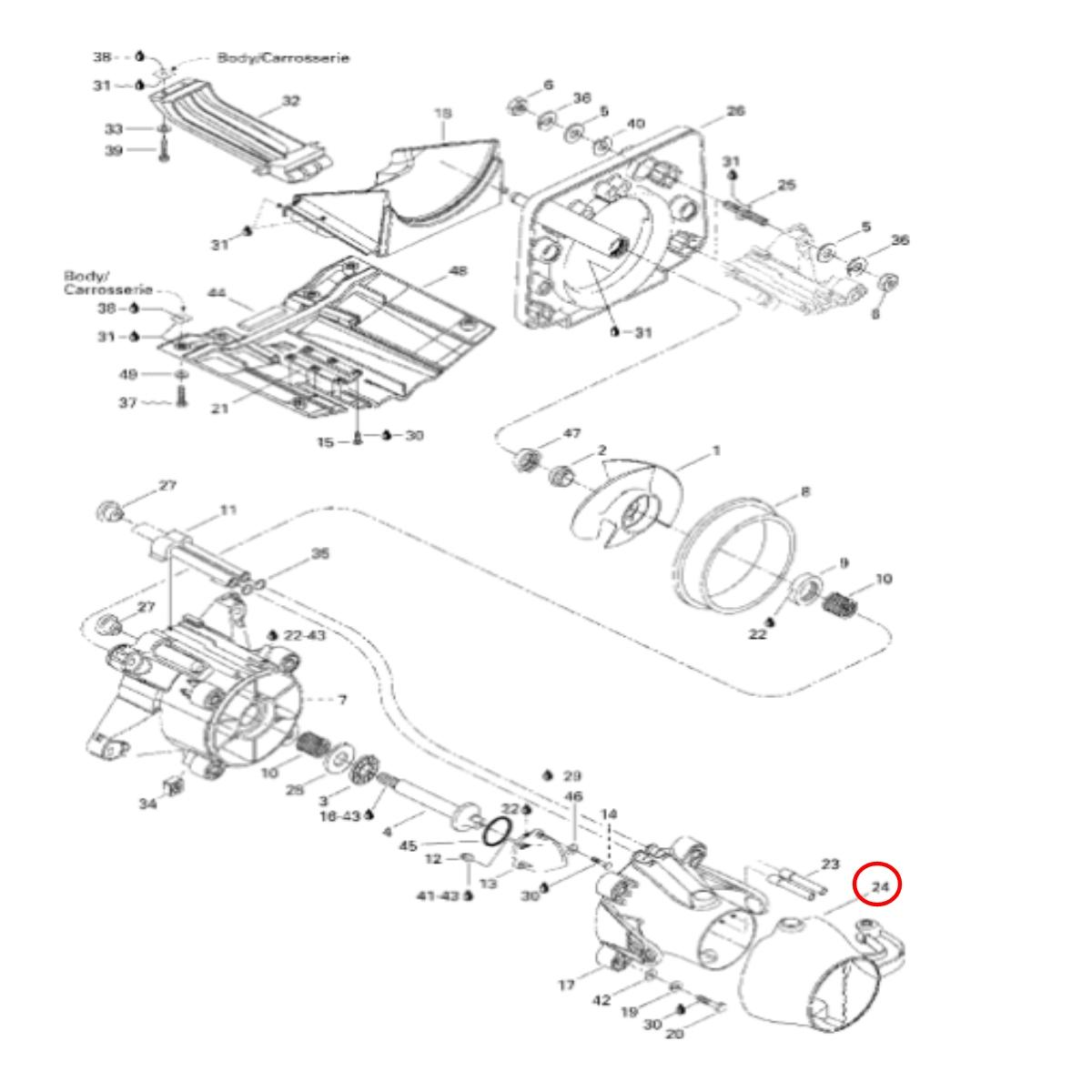 Bico Direcionador para Jet Ski Sea Doo SP 96/97 SPX 96/99 XP 97  - Radical Peças - Peças para Jet Ski