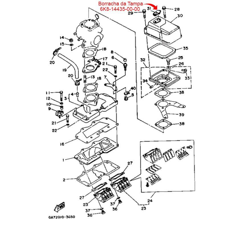 Borracha da Tampa Carburador Para Jet Ski Yamaha 700 (Usada)  - Radical Peças - Peças para Jet Ski