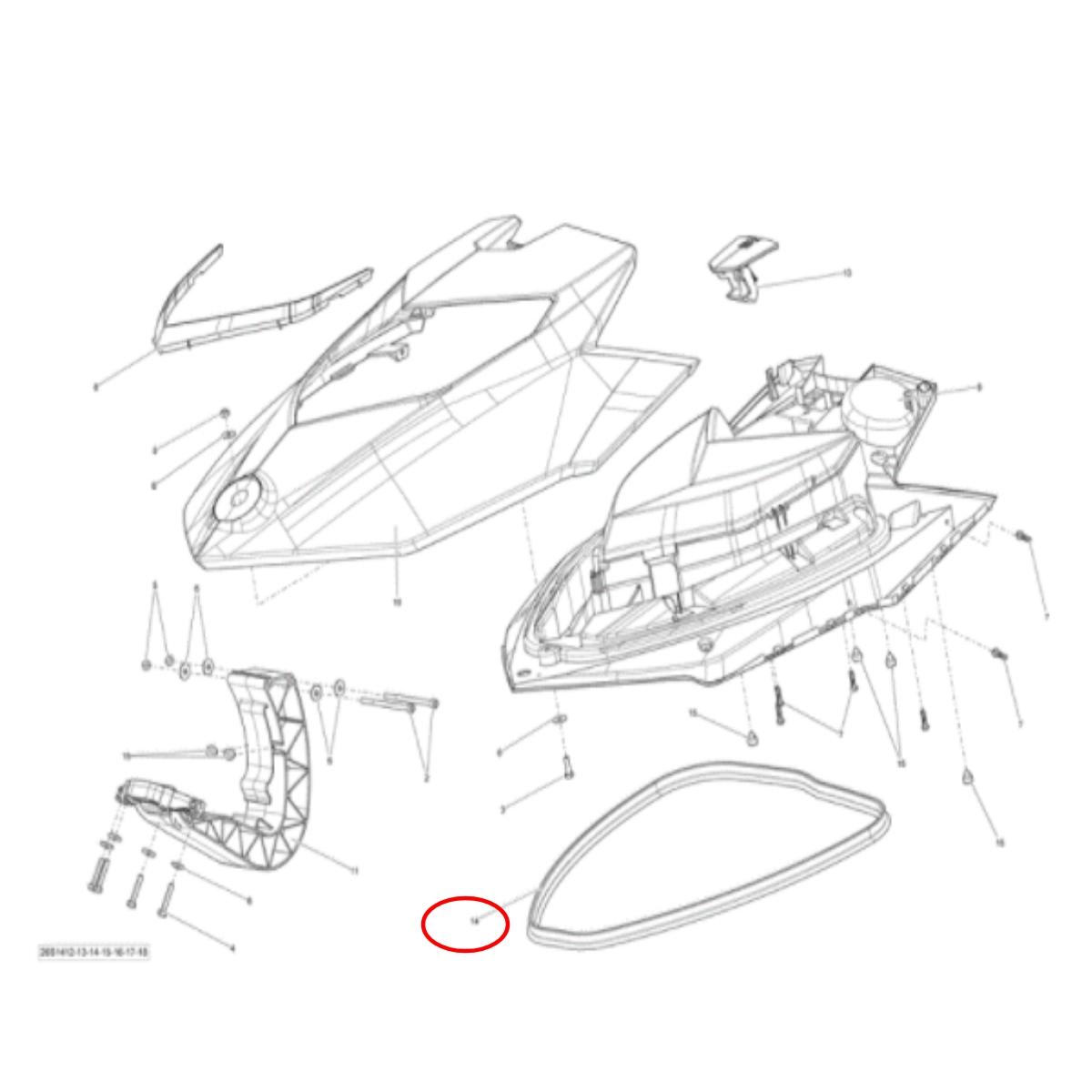 Borracha de Vedação da Tampa frontal Sea Doo 4 TEC( venda por metro, favor medir sua tampa)  - Radical Peças - Peças para Jet Ski