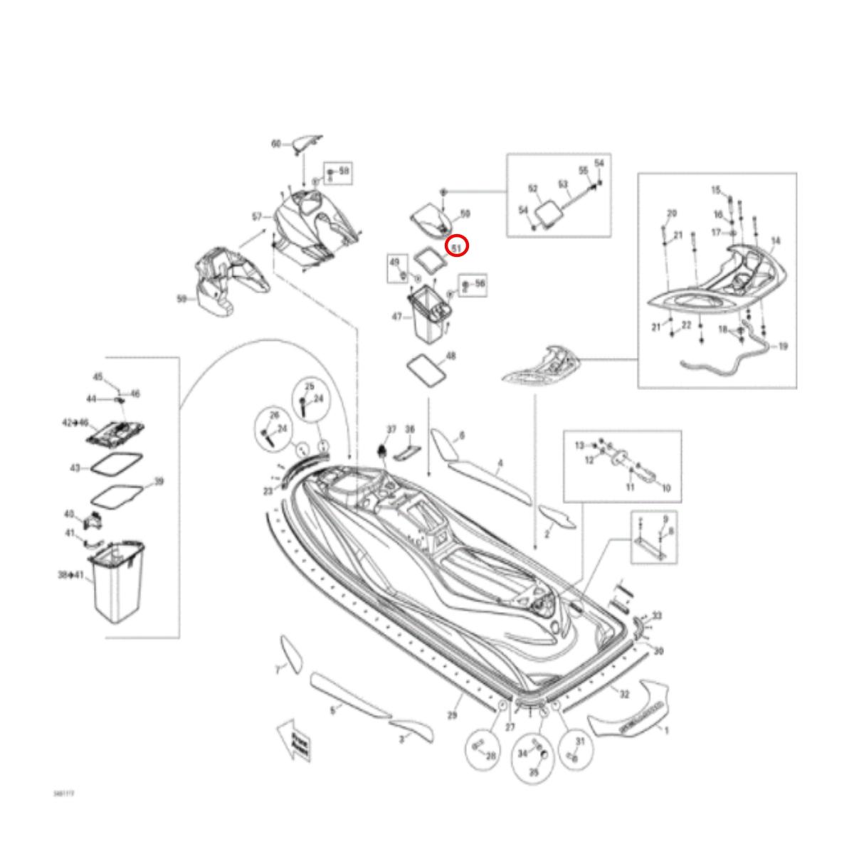 Borracha de Vedação do Porta Documentos para Jet Sea Doo 4 Tec  - Radical Peças - Peças para Jet Ski